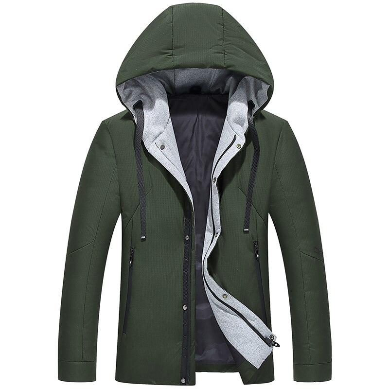2018 Hornor Shiny Mens Down Jacket Warm White Duck Winter Coat Hooded Mens windbreak Male Casual hoodie Jacket Coat,