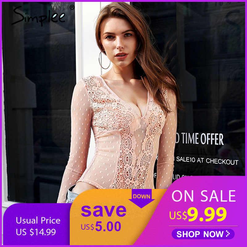 8d5e476444a Simplee V neck skinny sexy lace bodysuit Mesh transparent white bodysuit women  Long sleeve summer beach
