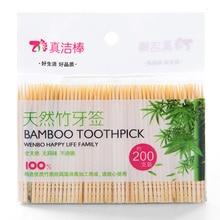 200 шт./пакет одноразовая деревянная зубочистка стоматологический натуральный бамбук Tandenstokers для дома ресторан отеля Уход за полостью рта зубочистка инструменты