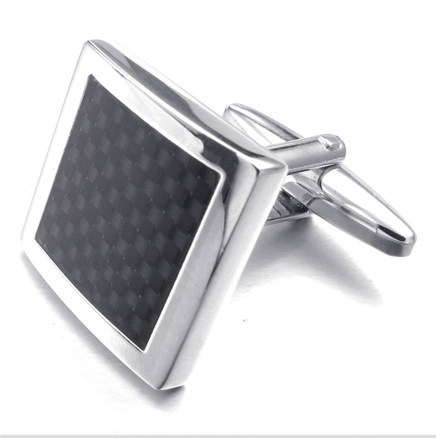 High Quality  Black Carbon Fiber Cufflinks