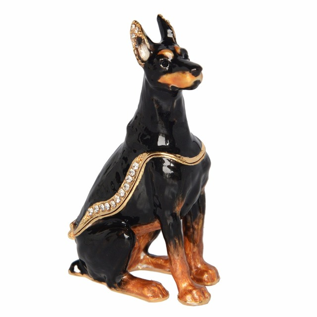 Sergeant Doberman Dog Bejeweled Hinged Trinket Box Lover Collection Gift Miniature Sculpture Birthday