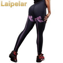 Women Sexy Bow Printed Fitness Leggings High Waist Push Up Legging Activewear Workout Black Stretch Leggins Laipelar