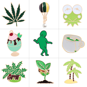 9 Style Green Pins Grass Leaf Tree Hot Air Balloon Frog Brooch Ice Cream Badge Jackets Cup Enamel Pin Brooches For Women Jewelry(China)