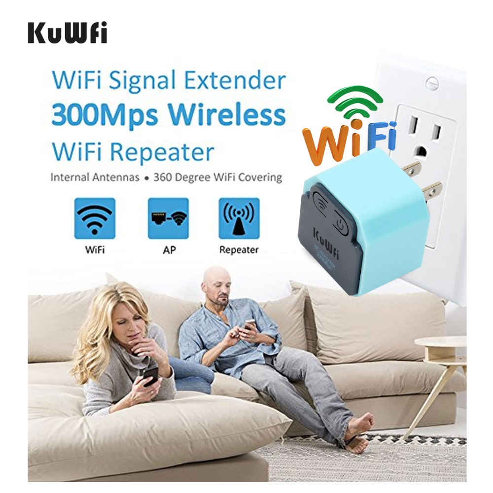 KuWFi 300Mbps Wireless Wifi Repeater 2.4Ghz WI-FI AP Router 802.11N Signal Amplifier Wifi Range Extender Booster With US/EU Plug
