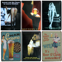 Hot Sexy Beauty Beer Chic Home Bar Vintage Metal Signs Home Decor Vintage Tin Signs Pub Vintage Decorative Plates Metal Wall Art
