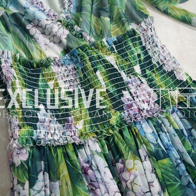 Fleur Haut Gamme Maxi Piste En De Ruches Imprimé Col V Femmes Vert D'été Robe Volants Svoryxiu Sexy À Designer Longue QWxoedBCrE
