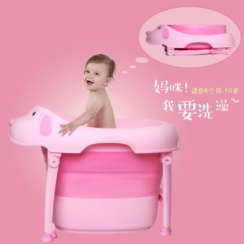 Nouveau-né en plastique grande taille facile pliant bébé baignoire nourrissons enfants baignoire avec tapis de bain 0-10Y