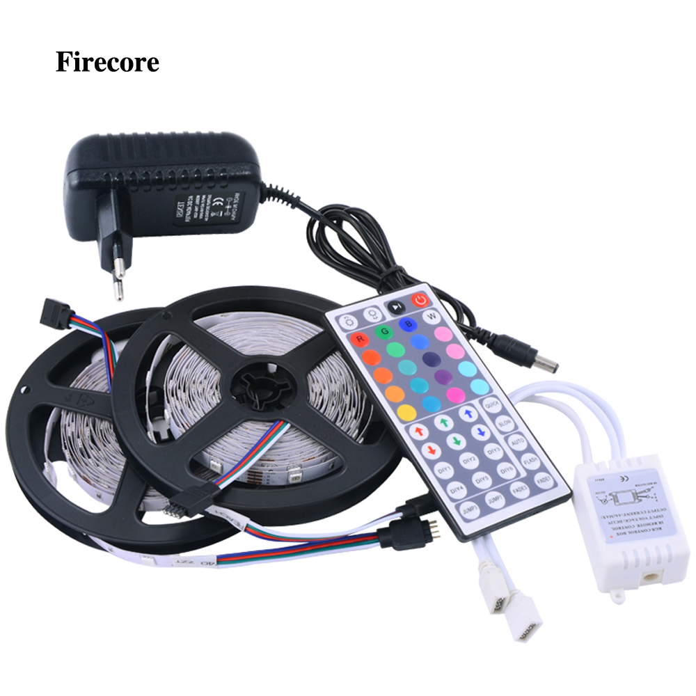 Firecore 10M 5050 RGB Strip Light  2*5m Waterproof Led Strips +44 Key IR Remote Controller +DC12V 3A Power EU/US/AU Adapter v108 ir remote receive module 2 key remote controller black silver