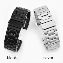 цена на High Quality Stainless Steel Three Solid Steel Belt Watch Metal Strap Watch Accessories 20 22 24mm