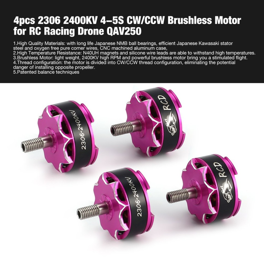 4pcs 2306 2400KV 4-5S CW/CCW Brushless Motor for RC Remote Control FPV Racing Drone Multicopter Propeller QAV250 DIY hi 4pcs 1806 2400kv brushless motor cost effective cw ccw for diy mini race quadcopter fpv drones