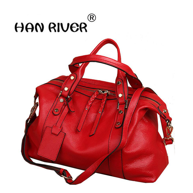 HANRIVER 2018 Autumn and winter new fashion head layer leather shopping bag genuine leather simple leather shoulder bag hanriver autumn and winter new chain