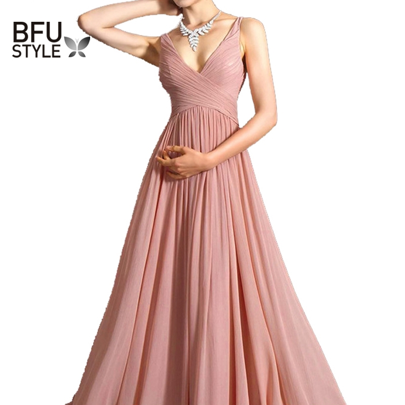 <font><b>Backless</b></font> Summer Chiffon <font><b>Dress</b></font> Women Robe V Neck <font><b>Sexy</b></font> Ukraine Elegant <font><b>Dress</b></font> Maxi Pink Tunic Casual Long Big Swing Party Vestidos image