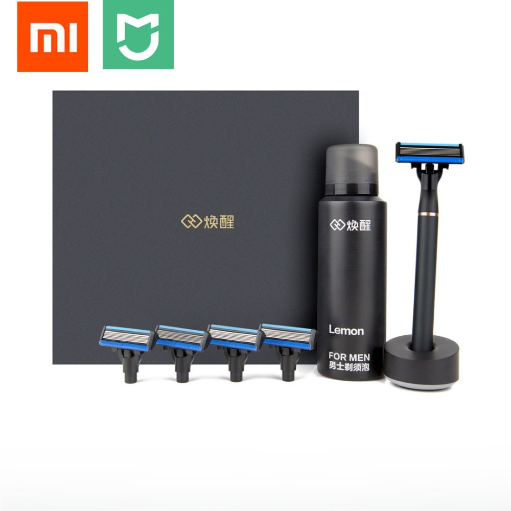 Original Xiaomi mijia 3in1 set Men Shaver Razor Lemon Flavor 8 in 1 Sets Magnetic Replace the Clip best gift for father husband lucky chance in may men shandbags 8
