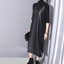 [XITAO] 2016 Women's casual style solid color Synthetic Leather mid-calf length loose form spaghetti strap V-neck dress LLB-151