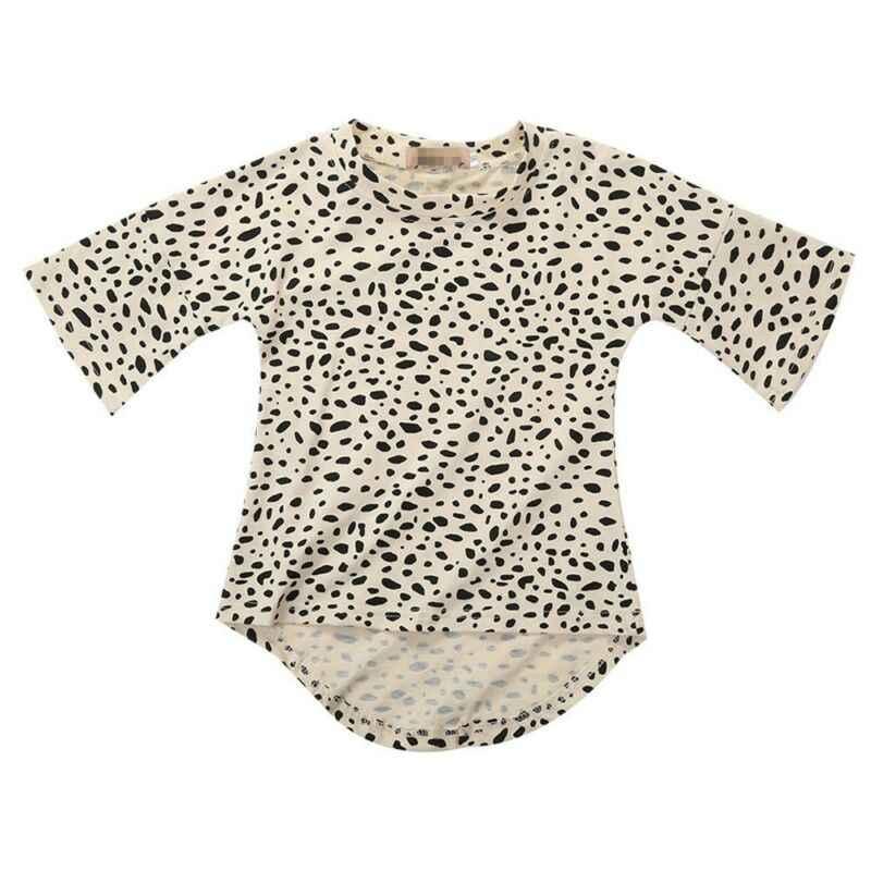 ฤดูใบไม้ร่วงฤดูร้อนเด็กวัยหัดเดินเด็กทารกเด็กทารกเสื้อผ้า Leopard T เสื้อแฟชั่นผ้าฝ้าย 3/4 แขนยาว Tee เสื้อยืด Party ชุด