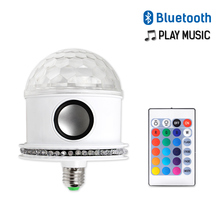E27 Disco Ball Light Bulbs AC110-265V Magic 7W Bulb Projector Stage LED Bluetooth Remote RGB+White Wireless Music Speaker