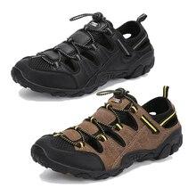 Plażowe sandały letnie buty męskie kapcie na zewnątrz człowiek oddychające siatkowe sportowe buty antypoślizgowy rzeczny muły morskie Tenis Masculino