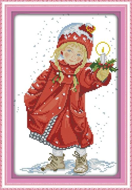 Joy Sunday Figure Style Christmas Candle Easy Cross Stitch Kits