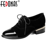 FEDONAS 2018 Women Fashion High Heel Pumps Genuine Leather Round Toe New Arrival High Quality Casual