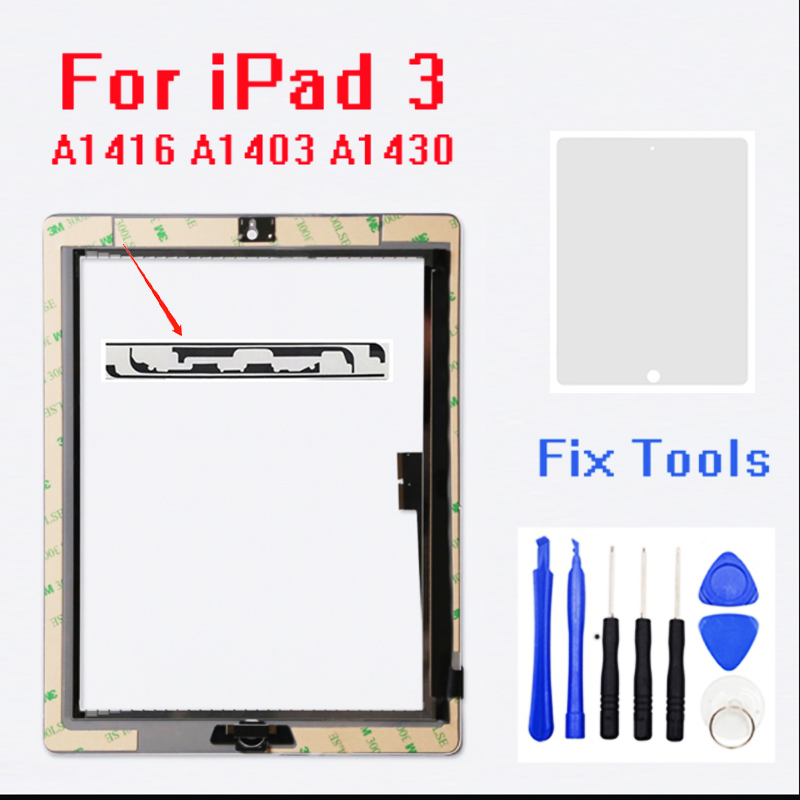 For IPad 3 Touch Screen Glass Digitizer Assembly A1416 A1403 A1430 Free +home Button +adhesive+camera Holder