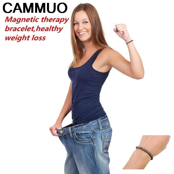 CAMMUO Health Bio Magnetic Massage Bracelet Magnetic Reduce Fat Loss Round Black Stone Magnetic Therapy Massage Bracelet men wom imanes para bajar de peso