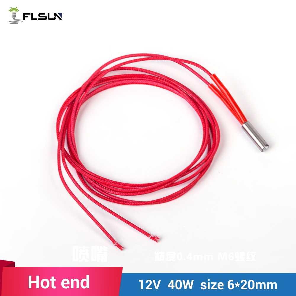 5 Pcs 3D Printer Cartridge Heater 12 V 40 W M6 * 20 Mm untuk RepRap Panas Akhir 1 Meter kawat