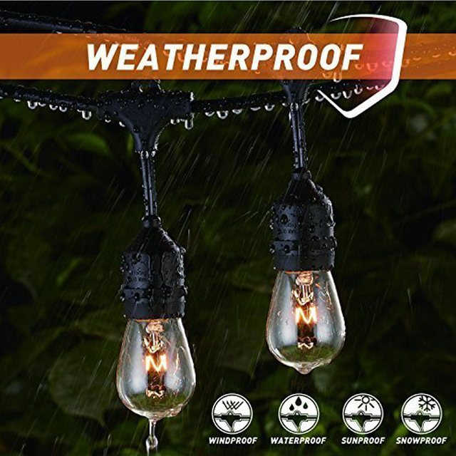 Weatherproof Outdoor Patio String Lights Hanging Market Cafe Edison Vintage Strand Christmas Wedding Party Decoration Led
