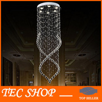 JH Modern Crystal Chandelier Fixture Duplex Stairs LED Crystal Lamp For Ceiling Villa Hall Chandelier Droplight