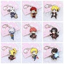 10Style Anime Naruto Acrylic Twoside Print Keychain Kakashi Shikamaru Uzumaki Bijuu Cartoon Figures Keyrings Portachiavi Toys