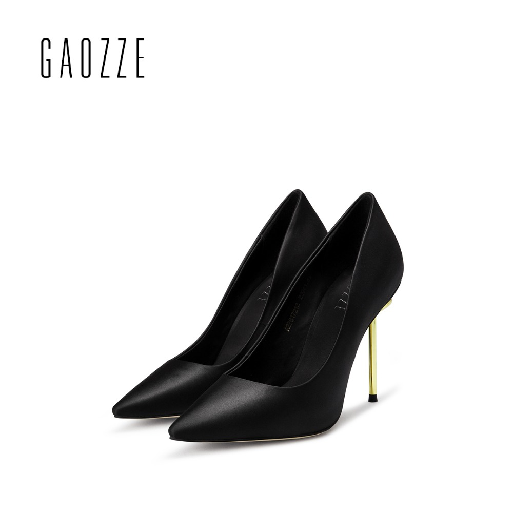 GAOZZE 2017 autumn new pointed toe high heels pumps female silk cloth shoes shallow mouth shoes black sexy thin high heel shoes sale promotion concise lady s pumps autumn pointed toe red bottom thin high heels female candy color black shoes 3709