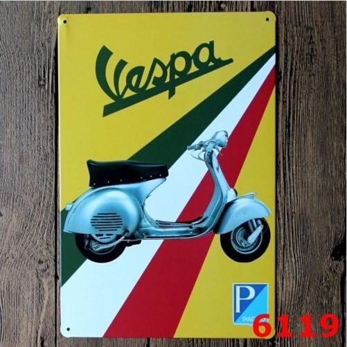 20x30CM Vintage Tin Sign Wall Decor Retro Metal Bar Poster,Motor Motorcycle Vespa