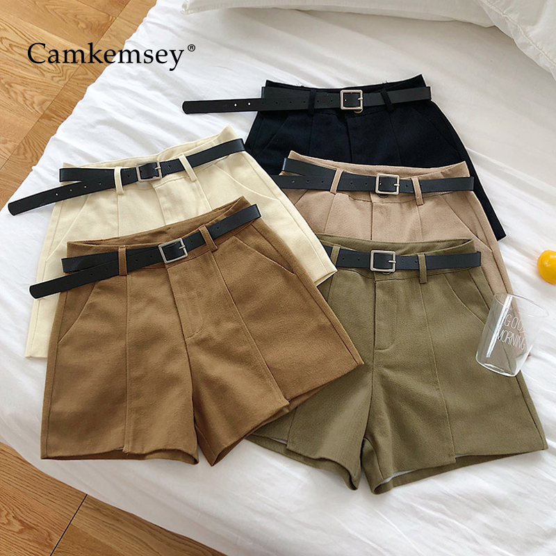 CamKemsey Korean Chic High Waist Summer Shorts For Women 2019 Fashion Solid Casual Pockets Wide Leg Cargo Shorts With Sashes