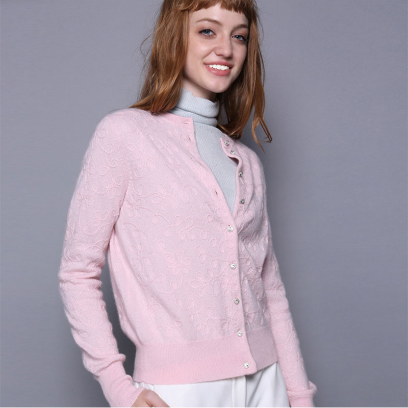 2018 neck Knitting Solid Brief Single Pure Cardigans light Pink Flowers O 100 Fashion Cashmere Jacquard Black Cardigan Breasted Women's FrFq4