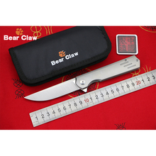 BEAR CLAW HARMONIOUS M390 blade Titanium Handle Flipper folding knife Outdoor Camping EDC tools Hunting Hiking pocket knives