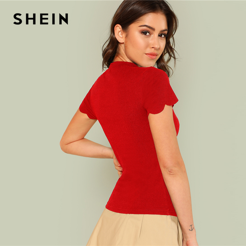 43ad32ee9f906d Aliexpress.com : Buy SHEIN Red Elegant Mock Neck Scallop Trim Cut Out V  Neck Short Sleeve Tee Summer Women Weekend Casual T shirt Top from Reliable  T-Shirts ...