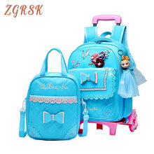 Girls Nylon Cartoon Trolley Backpack 2PCS/SET Children School Bags Removable Boys 2/6 Wheels Child Kids Rolling Backpacks