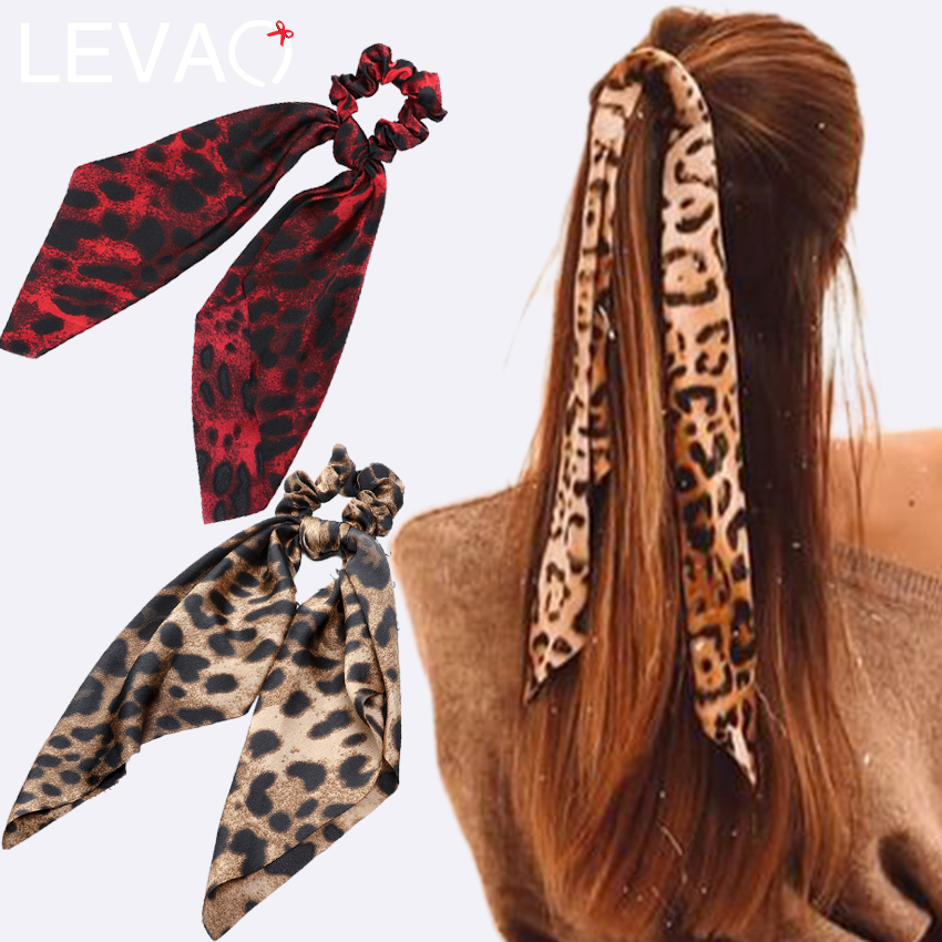 Levao Leopard Print Scrunchies For Women Hair Scarf Ribbon Bow Hairbands Elastic Hair Rubber Rope For Girls Hair Accessories
