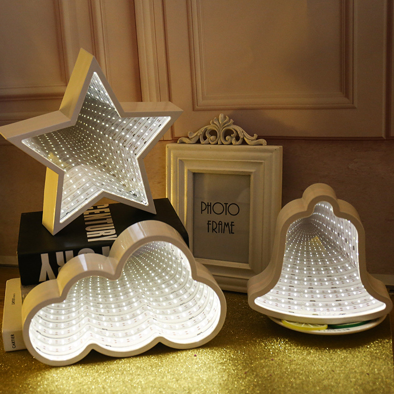 Novelty Night Light 3D Star Could Heart Light Infinity Mirror Tunnel Lamp Mirror Tunnel Light Home Decor For Kids Baby Toy Gift
