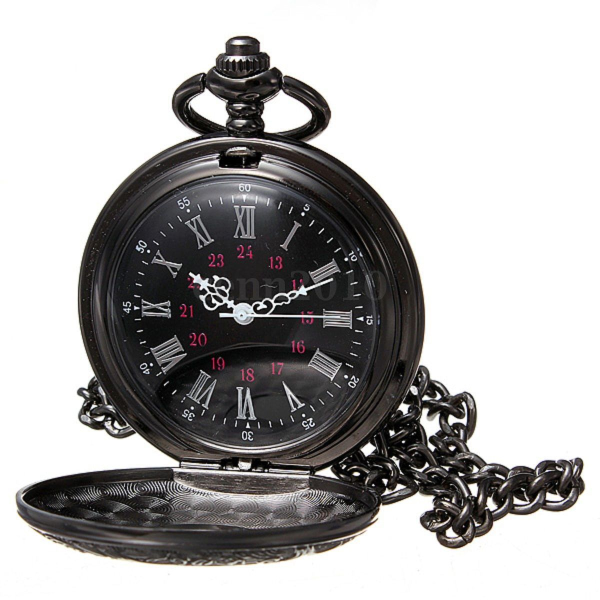 YCYS-Vintage Steampunk Black Roman Numerals Necklace Quartz Pendant Pocket Watch Gift