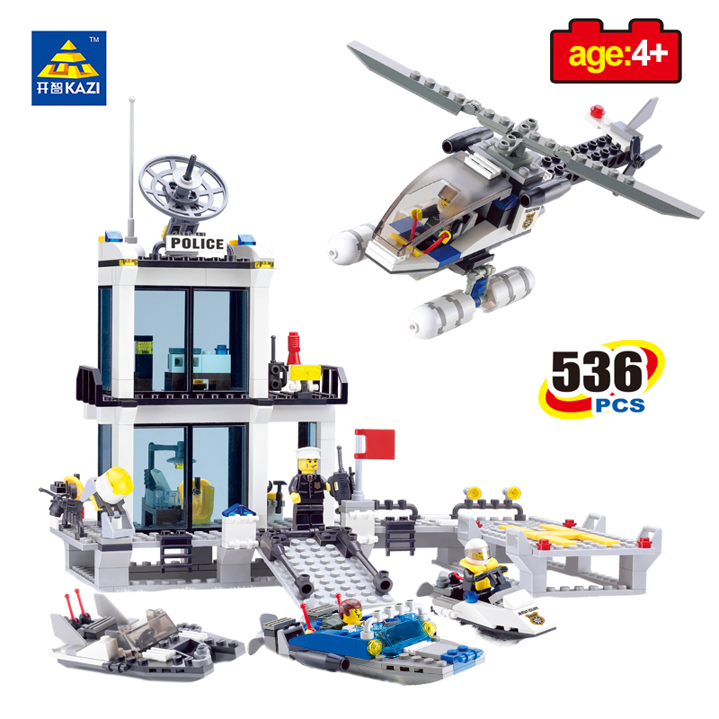 KAZI Toys Police Station Prison Figures Building Blocks Compatible Legos City Enlighten Bricks Educational Toys For Children 6727 city street police station car truck building blocks bricks educational toys for children gift christmas legoings 511pcs