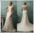 2017 Vintage Wedding Dresses Short Cap Sleeve Sexy Sheer Back A Line White Wedding Dress Chapel Train Beaded Lace Bridal Gowns