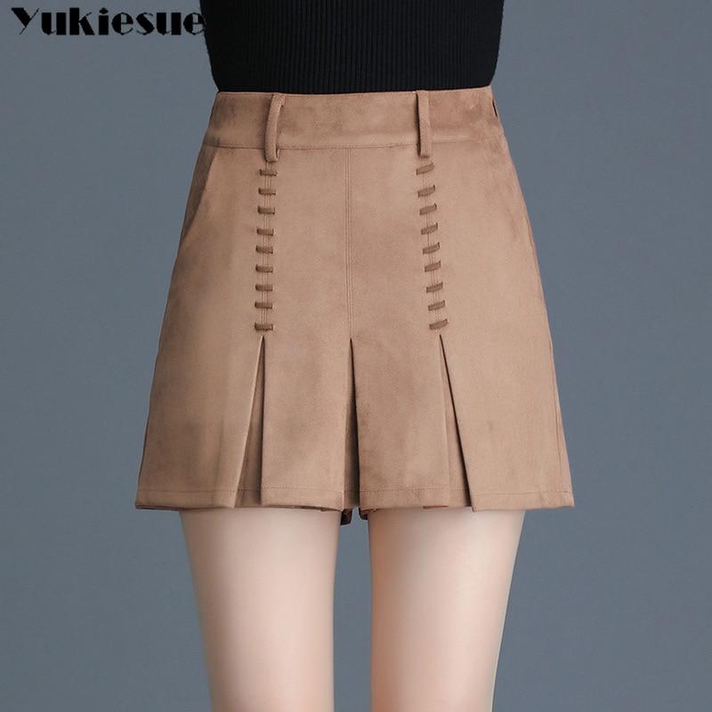 Harajuku Suede Bandage Skirts Shorts Women Women's Shorts With High Waist Solid Casual Female Skirt Shorts Ladies Short Mujer