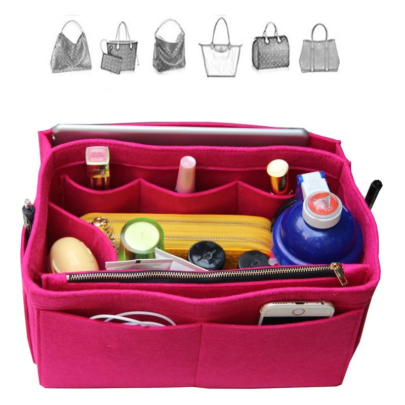 Customizable Felt Tote Purse Organizer/ Multi Pocket Bag in Bag Organizer For Tote/(w/ Diaper Pocket & Detachable Zipper Bag) цены онлайн