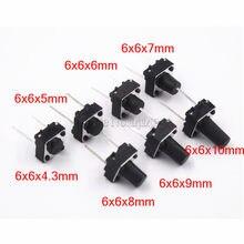 Interrupteur Tactile momentané, 1000 pièces, Tact 6x64. Broche moyenne 2 broches 3/5/6/7/8/9/10mm 6*6*4.3mm 5mm 6mm 7mm 8mm 9mm 10mm