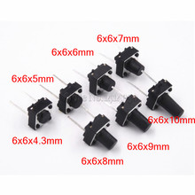 20Pcs Tactile Switch Momentary Tact 6x64.3/5/6/7/8/9/10mm 6*6*4.3mm 5mm 6mm 7mm 8mm 9mm 10mm Middle pin 2pins