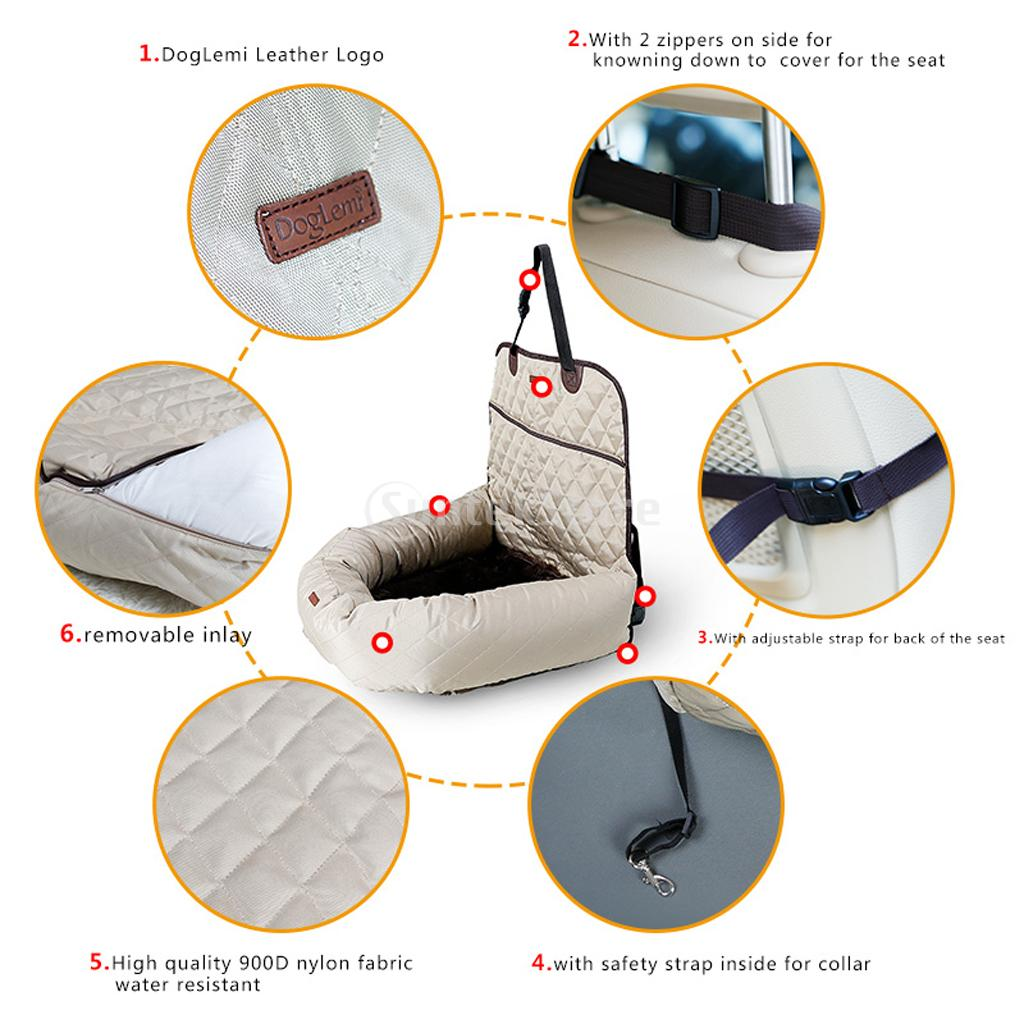 Deluxe Dog Car Bucket Seat Protector Functional Pet Booster Car Bed Lounge Portable Carrier