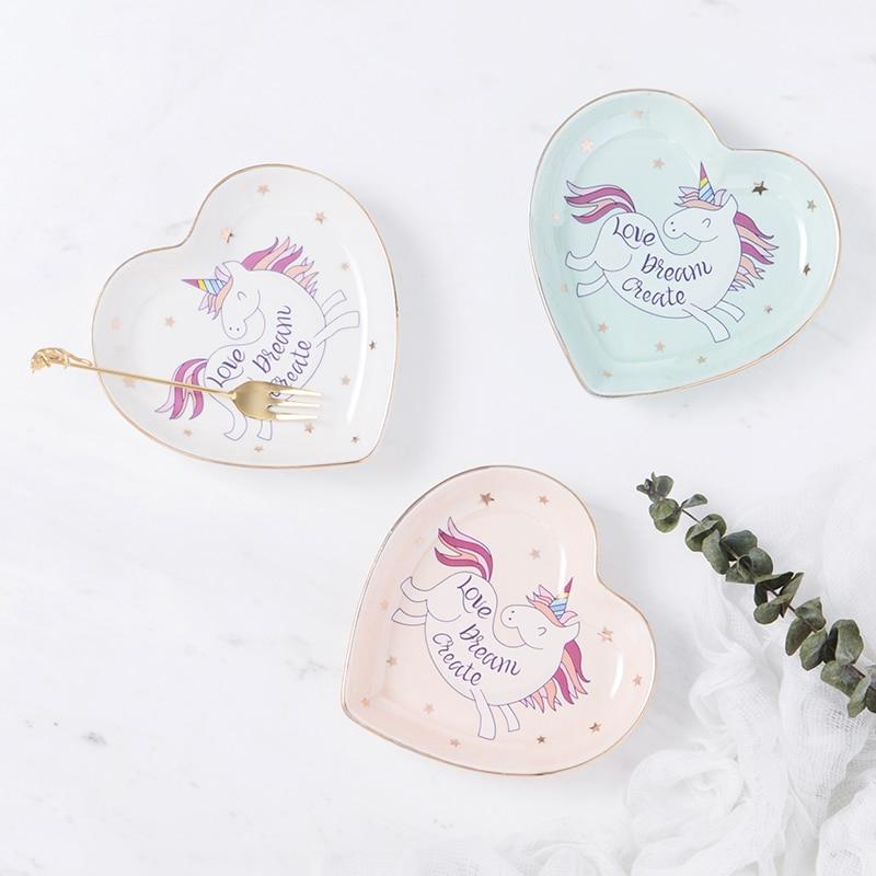 Small Heart Shape Unicorn Ceramic Dish Plate Candy Dish Porcelain Saucer Jewelry Dish Ring Dish Decorative Plate Tray