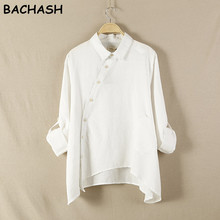 BACHASH 2017 Spring New Women Shirt Cotton Linen Button White Blue Floral Turn-down Collar Irregular Plus Size Loose Blouse