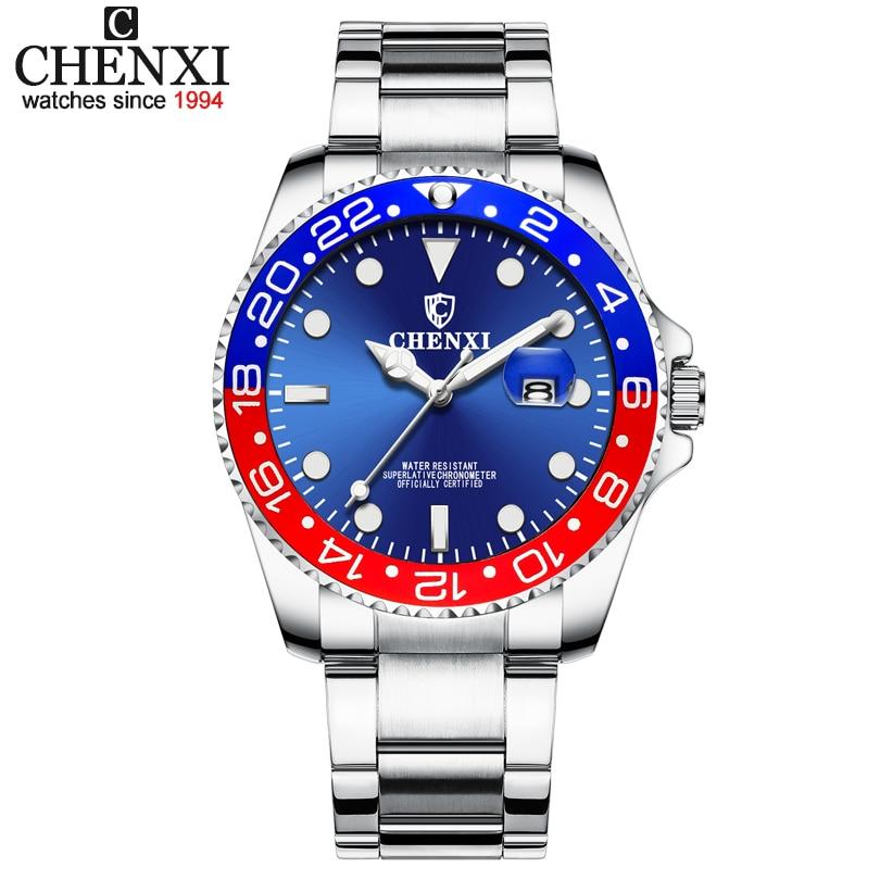 CHENXI Luxury Brand Men Business Sport Watches Men's Quartz Clock Full Steel Waterproof Wrist Watch relogio masculino Watch Man chenxi steel strap tachymeter quartz watch