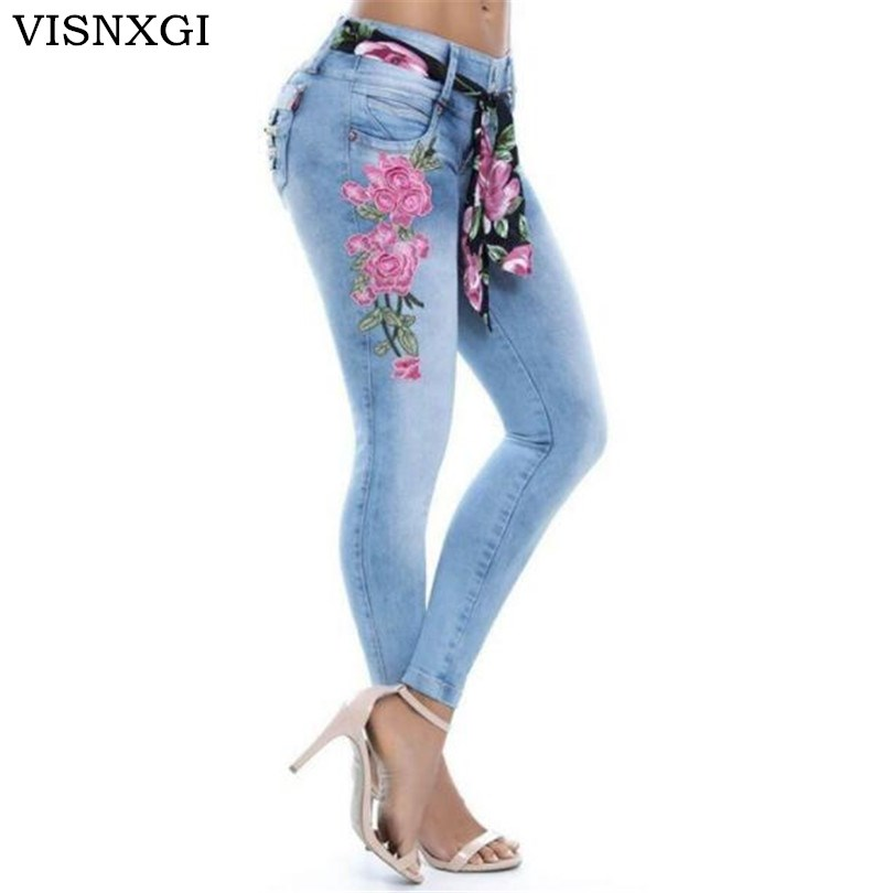 VISNXGI Flower Embroidered Jeans Pant Women Elastic Pencil Denim Pant Female Sexy Skinny Pantalon Femme Bottom Trouser S-5XL